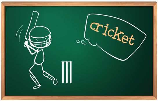 Illustration of a board with a cricket player on a white background