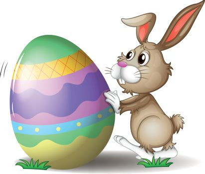 Illustration of a bunny pushing an easter egg on a white background