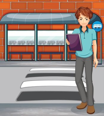 Illustration of a man holding a book near the bus stop