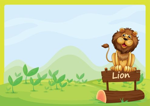 Illustration of a lion at the top of a wooden signboard