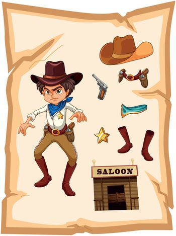 Illustration of a poster with an angry cowboy on a white background