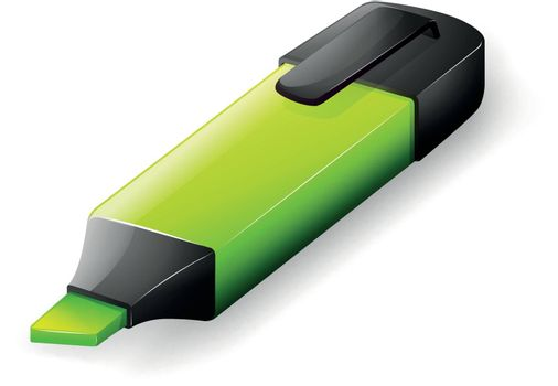 Illustration of a green marker on a white background