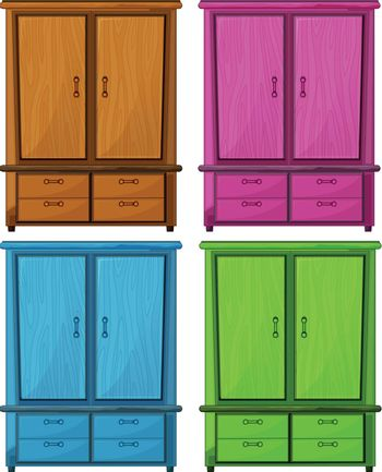 Illustration of the four different colors of a wooden cabinet on a white background