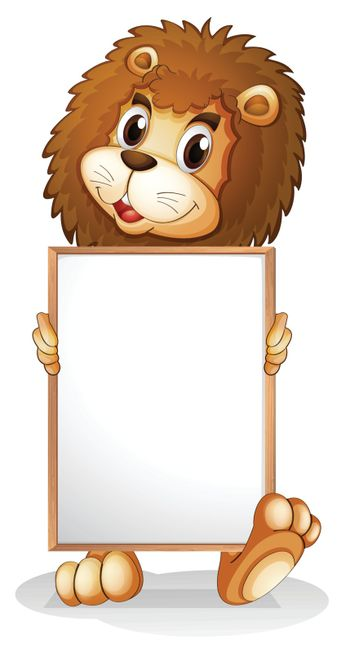 Illustration of a lion holding an empty bulletin board on a white background