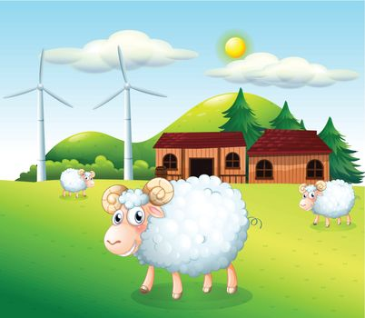 Illustration of the sheeps at the farm with windmills