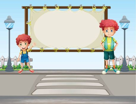 Illustration of two boys near the lamp post