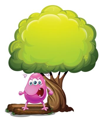Illustration of an angry beanie monster under the big tree on a white background