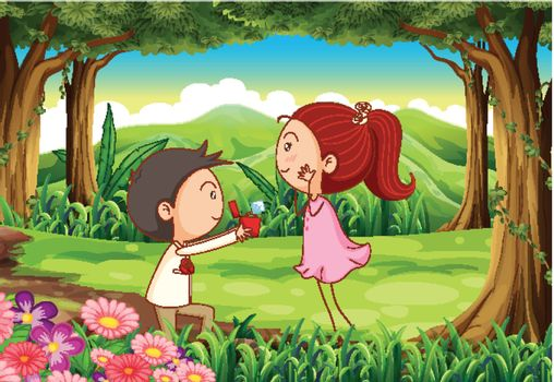 Illustration of a marriage proposal at the forest