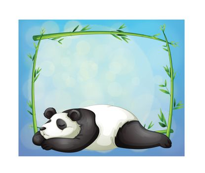 Illustrtaion of a sleeping panda and the empty frame made of bamboo