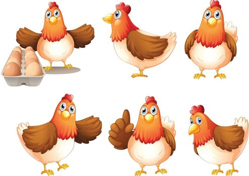 Illustration of the six fat hens on a white background