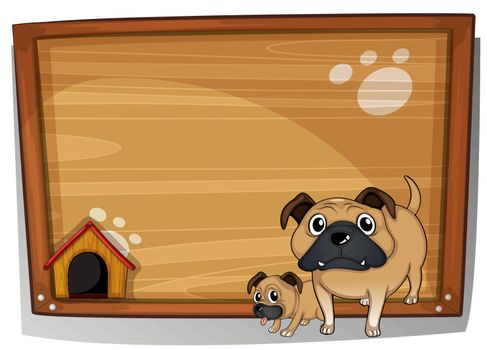 Illustration of the two bulldogs beside a wooden board on a white background
