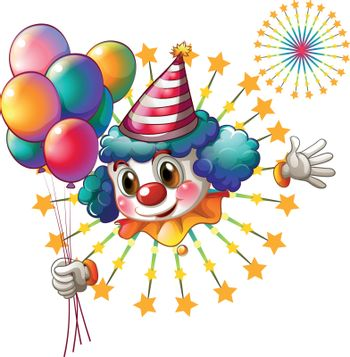 Illustration of a clown with balloons and a firework display on a white background