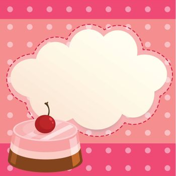 Illustration of a pink paper note with a cake