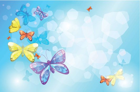 Illustration of a special paper with colorful butterflies
