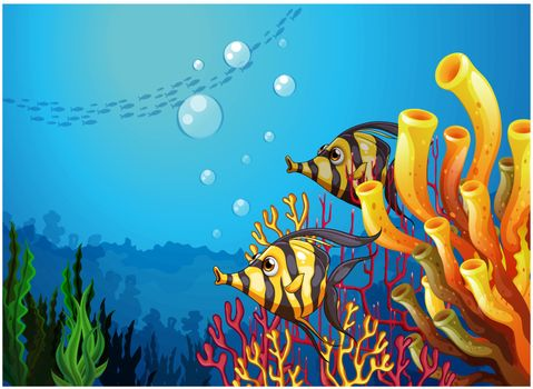 Illustration of a deep sea with beautiful coral reefs and fishes on a white background