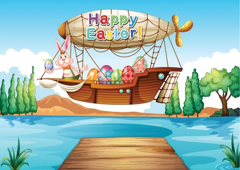 Illustration of an airship with an easter greeting