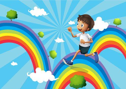 Illustration of a boy running above the rainbow