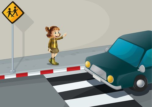 Illustration of a girl pointing at the car near the pedestrian lane