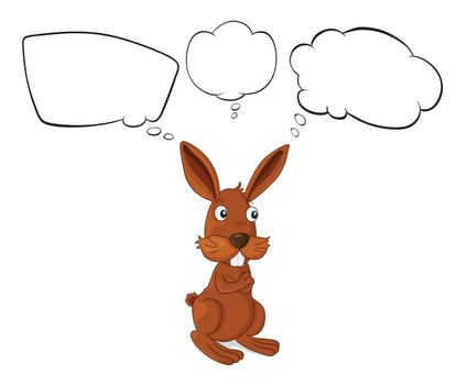 Illustration of a brown rabbit with empty callouts on a white background