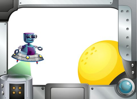 Illustration of a metallic frame with a robot and a sun
