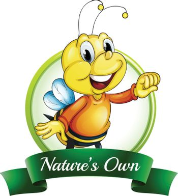Illustration of a nature's own label with a smiling bee on a white background