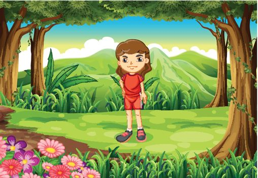 Illustration of a girl in her red uniform standing at the forest