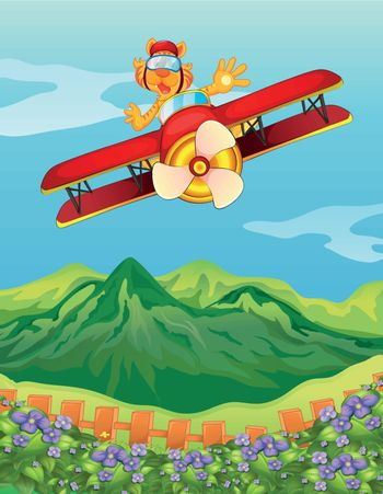 Illustration of a tiger riding in an airplane