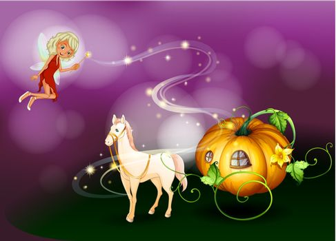 Illustration of a pumpkin cart with a fairy holding a wand