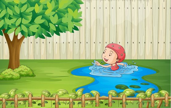 Illustration of a girl swimming inside the fence