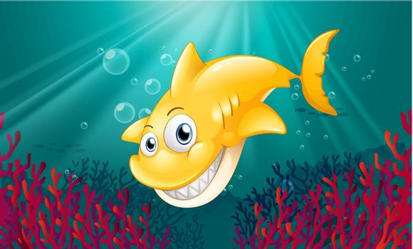 Illustration of a yellow shark smiling under the sea