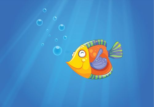 Illustration of a deep ocean with a fish
