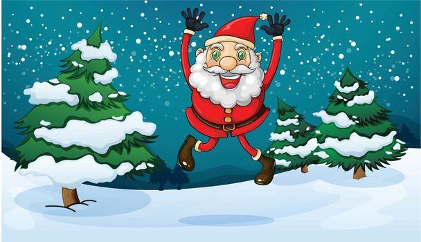 Illustration of a happy Santa near the pine trees