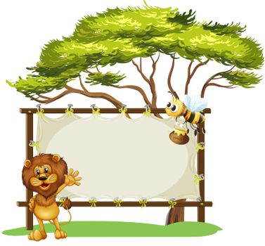 Illustration of a bee and a lion and the empty signage on a white background
