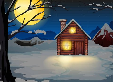 Illustration of a wooden house in a snowy area