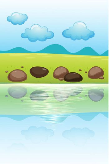 Illustration of stones near the river