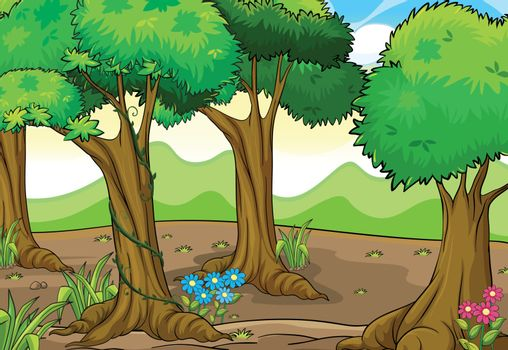 Illustration of trees and flowers in a beautiful nature