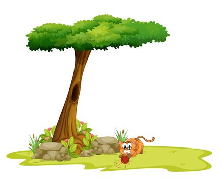 Illustration of a cat playing under the tree on a white background