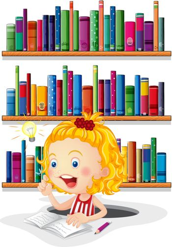 Illustration of a girl studying in front of the bookshelves on a white background