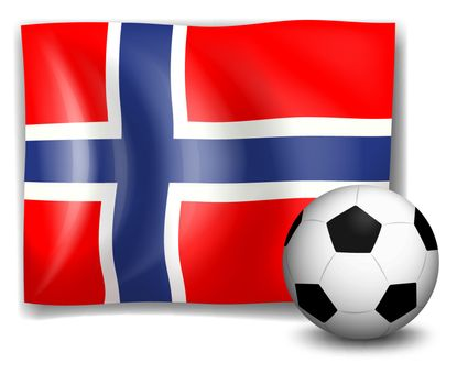Illustration of the flag of Norway with a soccer ball on a white background