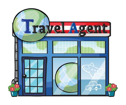 Illustration of a travel agent office on a white background