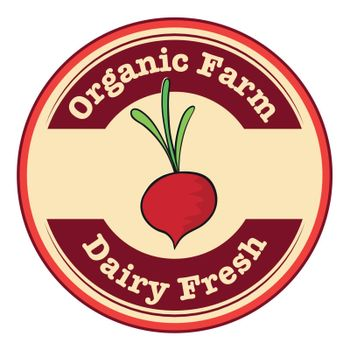 Illustration of a dairy fresh and an organic farm logo with an onion on a white background