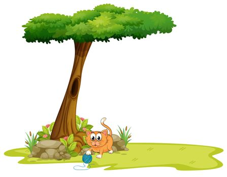 Illustration of an orange cat playing under the tree on a white background