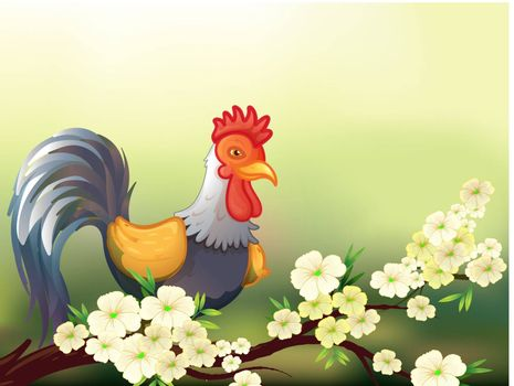 Illustration of a chicken in a cherry blossom tree
