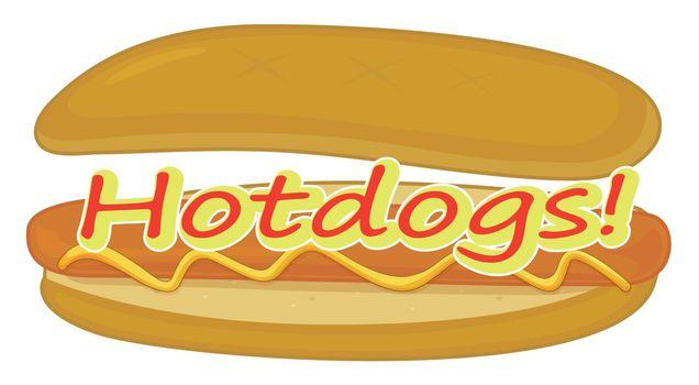 Illustration of a hotdog label on a white background