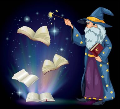 Illustration of an old wizard holding a book and a wand