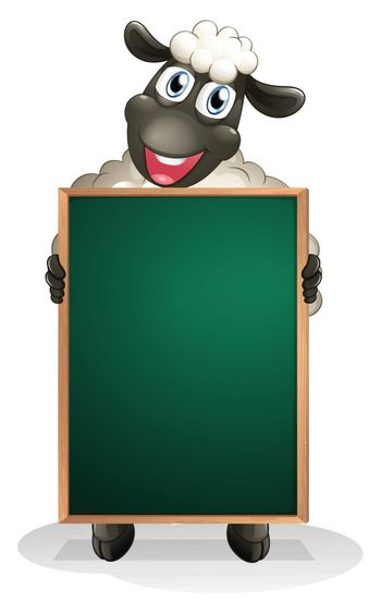 Illustration of a sheep holding an empty board on a white background