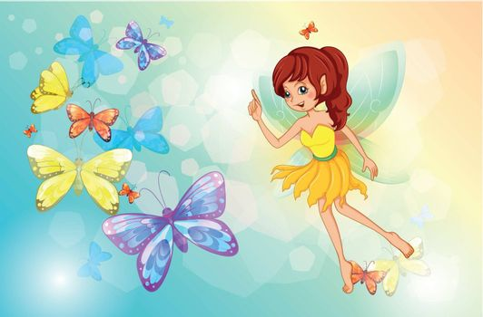 Illustration of a fairy with colorful butterflies