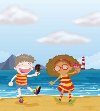 Illustration of happy kids with ice cream at the beach