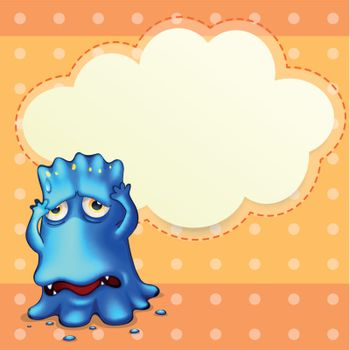 Illustration of a blue monster feeling down near the empty cloud template