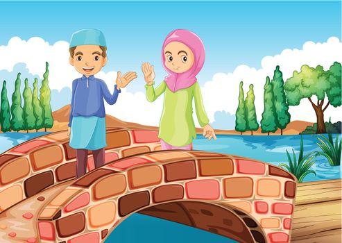 Illustration of a Muslim couple waving at the bridge
